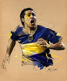 Midfielder Roman Riquelme of Boca Juniors celebrates after he scored the second goal against Gremio during the first leg final football match of the Copa Libertadores 2007 at La Bombonera stadium in Buenos Aires, 13 June AFP PHOTO/Daniel GARCIA Art Football, Legends Football, Football Design, Football Match, Soccer Pro, Football Players, Messi Soccer, Sports Art, Sports Logo