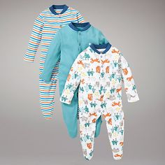 Buy John Lewis Baby Woodland Sleepsuits, Pack of 3, Multi Online at johnlewis.com