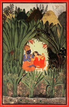 Krishna and Radha in a grove. c.1750, Bundi or Kotah, India
