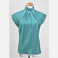 Teal Short Sleeve Blouse, $54, from Oh So Retro Vintage