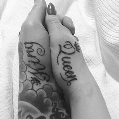 51 King and Queen Tattoos for Couples King Queen, Couple Tattoos, Palm, Tattoo Quotes, Design, Literary Tattoos, Matching Relationship Tattoos, Quote Tattoos, Couple Tat