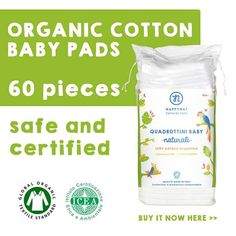 Baby pads in organic cotton.  The ideal pads for your baby's daily intimate care.  They are #Chemicalfree #biodegradable and dermatologically tested!