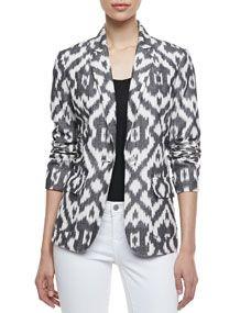Jacket Lust Neiman Marcus Ikat One-Button Jacket Batik Blazer, Blouse Batik, Batik Dress, Kurta Designs, Blouse Designs, Ny Dress, Ikkat Dresses, Batik Fashion, Jackets For Women