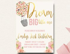 Hot Air Balloon Boho Chic Invitation First Birthday Blush Floral Gold Dream Gold