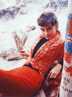 Audrey Hepburn for Look Magazine photographed by Howell Conant, 1954. howel conant, inspiring women, red, audrey hepburn, style icons, magazines, audreyhepburn, plaid shirts, casual outfits