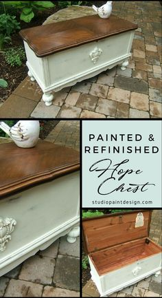 Painted Refinished Lane Hope Chest Painted Furniture DIY Ideas Painting Ideas Inspiration Annie Sloan Chalk Paint Minwax Special Walnut Stain #paintedfurniture #paintedchest #diy #anniesloan #chalkpaint #ideas