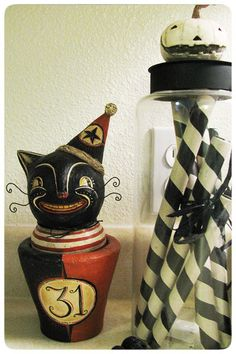 Cat with jar by Johanna Parker // vintage halloween decor
