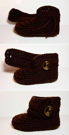 where to attach the button on these wrap around baby boots