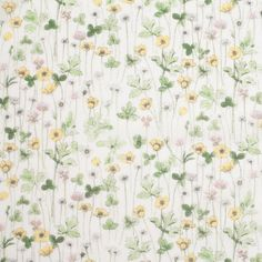 Liberty of London Josephines Garden Green/Yellow Silk-Cotton Voile Fabric by the Yard   Mood Fabrics