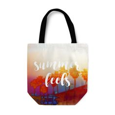 """An endless summer spirit lives on in this stylish beach themed shoulder bag  tote, featuring a vivid pastel colored design of tropical palm trees on  both sides! Available in several different styling options to choose from,  this bohemian chic market shopping essential comes with the words """"Summer  Feels"""" adorned in a stylish typography font display on both sides as well!   * Basic Option features a 1-inch wide cotton web strap * Adjustable Option features a 2-inch wide adjustable..."""