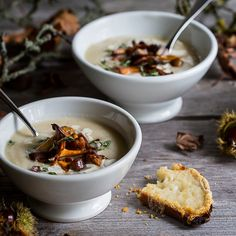 Celebrate Fall with this Celeriac & Apple Soup with Wild Mushrooms, Thyme and Chestnuts. Served with melting gruyere cheese toasts. Fried Mushrooms, Stuffed Mushrooms, Cheese Toast, Gruyere Cheese, Avocado, Robert Welch, Olive Oil Cake, Custard Filling, Recipes