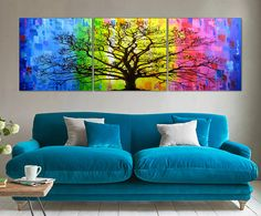 Large wall art 70 Triptych art Painting on canvas Home