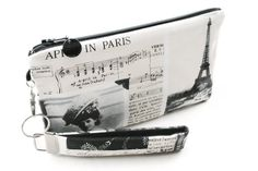 April in Paris wristlet / black and white clutch / by VictoryBags, $20.00