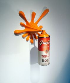 Warhol Graffiti Tomato Soup Splash Spray Can Sculpture