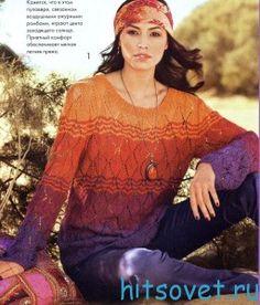 Полосатый пуловер спицами из пряжи Panama