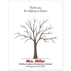 Printable Teacher Fingerprint Tree PDF by lovliday on Etsy - great end of year teacher gift idea.