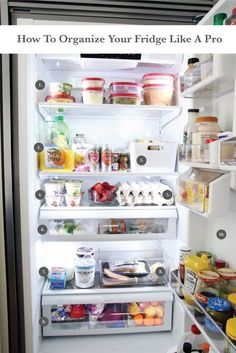 How To Organize Your Fridge Like a Pro What does the inside of your fridge look like? We are the type of household that try to get the main part of our fridge as empty as possible every week. This system started shortly Refrigerator Organization, Kitchen Organisation, Home Office Organization, Organization Hacks, Freezer Organization, Organized Kitchen, Tiny Fridge, Ikea Pax Closet, Chris Loves Julia