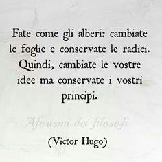 Victor Hugo: Has como los árboles: cambia las hojas pero conserva las raíces. Entonces, cambia vuestras ideas pero conserva vuestros principios.