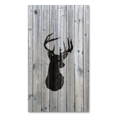 Hipster vintage black deer head on gray wood business cards. Make your own business card with this great design. All you need is to add your info to this template. Click the image to try it out!