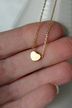 Tiny Gold Heart Necklace...Small Heart by brinandbell on Etsy