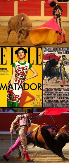 Pink, Yellow, and Orange are the palette of bullfighters and matadors in Spain!