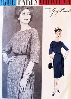 1950s  Guy Laroche Elegant Dress Pattern VOGUE PARIS ORIGINAL 1473 Slim Skirt With Separating Overskirt Daytime or Cocktail Dress Bust 32 Vintage Sewing Pattern