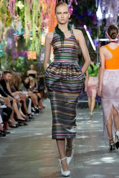 Satin stripe dress by Christian Dior | Spring 2014 Ready-to-Wear Collection | Style.com