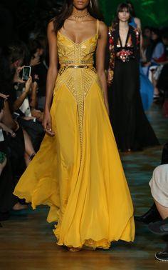 Ellie Saab Yellow Long Dress
