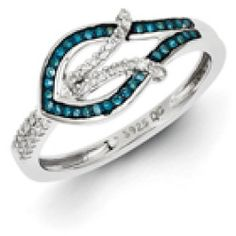 52524_880278_large Best Deal 1/4 Cttw Blue & White Diamond Fish Ring In Sterling Silver Size 8