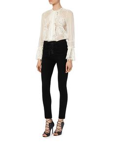 Alexis Amilina Sheer Sleeve Lace Blouse: White