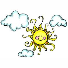 8846 - Sun and Clouds Rubber Stamp - Sku: G461