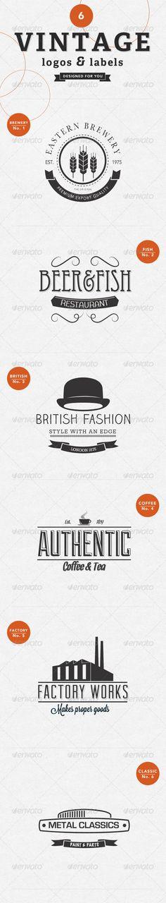 6 Vintage Labels Badges & Logos - GraphicRiver Item for Sale
