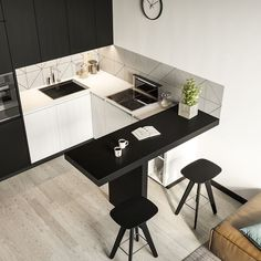 simple and modern style kitchen design for small kitchen decorating ideas or kitchen remodel Kitchen Room Design, Home Decor Kitchen, Interior Design Kitchen, Home Kitchens, Decorating Kitchen, Decorating Ideas, Loft Kitchen, Kitchen Tile, Decor Ideas