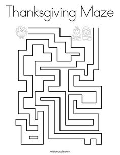 Turkey Maze Coloring Page - Twisty Noodle | Thanksgiving ...