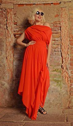 Red Maxi Dress / Long Summer Kaftan / Chiffon Summer Dress / Cocktail Dress TDK131