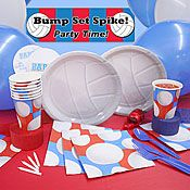 Decorate picnic tables with beach volleyball plates, cups, napkins, and banners.
