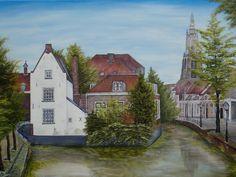 schilderij 70 x 50 cm olieverf op doek Het kleine kerkje. 't Havik  Amersfoort www.adtolboom.nl