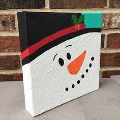 """For sale: Snowman Painting, Snowman Decoration Christmas Painting, Winter Decoration, 8"""" x 8"""" Deep Canvas Acrylic Painting, Snowman Too by Kim Mlyniec by UpandDownArt on Etsy"""
