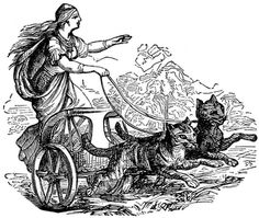 A Norse legend, tells that Freya, the goddess of love and fertility, rode in a chariot pulled by two black cats. The latter were actually her swift horses that had been possessed by the devil. The cats served Freya well for seven years, and at the end of this time were rewarded by being turned into witches – disguised as cats!