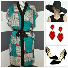 """""""Well Read"""" Kimono dress NWT Brand New with tags """"Well Read"""" kimono dress featuring complimentary colors of jade, ted, cream, navy blue and black detailing.  Designer Viva Vena by Vena Cava Ties at waist.  Snap button front. 100% rayon Approx 36""""long Viva Vena by Vena Cava Dresses"""