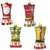 "Snowman Head Multicolored Glass Ornaments 4"" -   PerfectlyFestive"