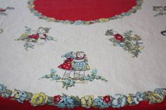 Vintage Whimsical Children Cotton Tablecloth by FelicesFinds