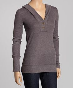 Heather Charcoal Button Hoodie by Poof! #zulily #zulilyfinds
