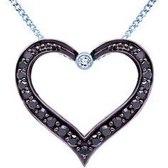 Diamond heart pendant in 10k white gold featuring enhanced black diamonds from Ben Moss Jewellers.