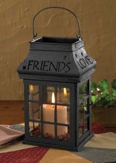 Primitive Country Love, Home, Family, Friends Candle Holder Lantern