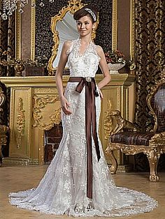Lace Halter Mermaid Wedding Dress with Beading and Contrasting Sash - USD $259.99