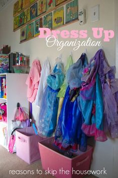 Dress Up Organization - Reasons To Skip The Housework Toy Room Organization, Organizing Toys, Clothing Organization, Dress Up Clothes Storage, Dress Up Outfits, Dresses, Kids Dress Up, Toy Rooms, Kids Rooms