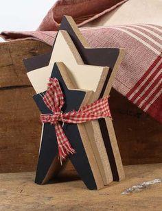 patriotic decor | ... Americana Stars Grouping with Homespun Ribbon - Americana Decor - Home