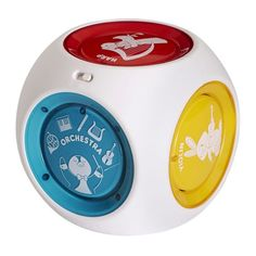 6 months & up. Create original music from 5 different instruments, French horn, piano, flute, harp, and violin or play music from eight Mozart compositions. Large colorful buttons light up to the tempo of the music. Soft, rounded corners make it easy for a baby to hold. Requires 3 AAA batteries (included).