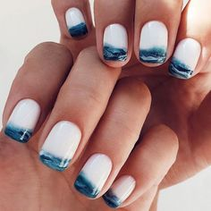 Beautiful Manicure Nails For Short Nails Design Ideas - - Square & Almond Nails -Short nails design, short acrylic nails, short square nails, short coffin na - Wave Nails, Sea Nails, Short Nail Designs, Fall Nail Designs, Beach Nail Designs, Cute Nail Art Designs, Matte Nail Designs, Tropical Nail Designs, Tropical Nail Art